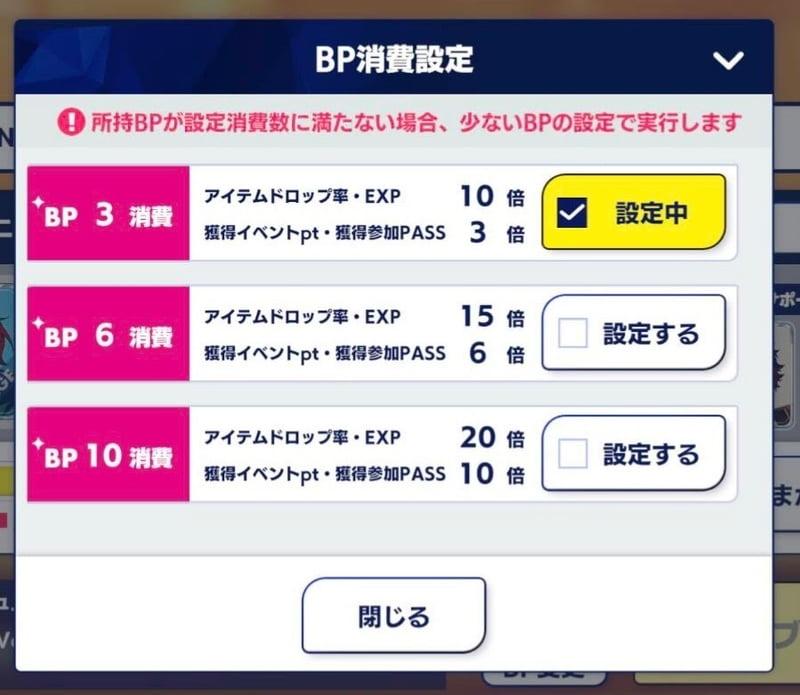 ツアーイベント・公演BP消費数