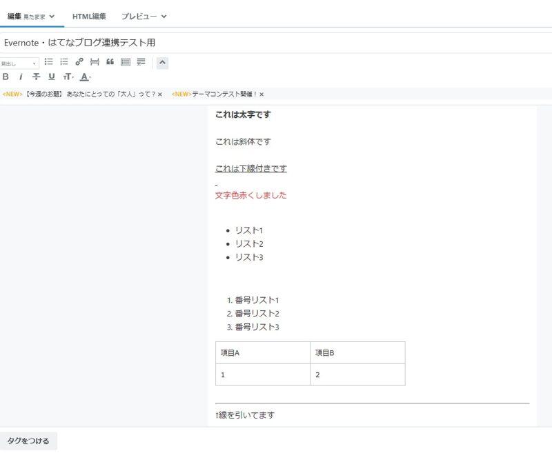 はてなブログ・Evernoteから貼り付けテスト(テキストと表)